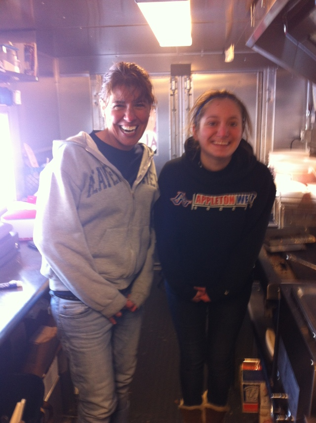 My sister Kim and Emma on the truck during the Chili Cook Off.