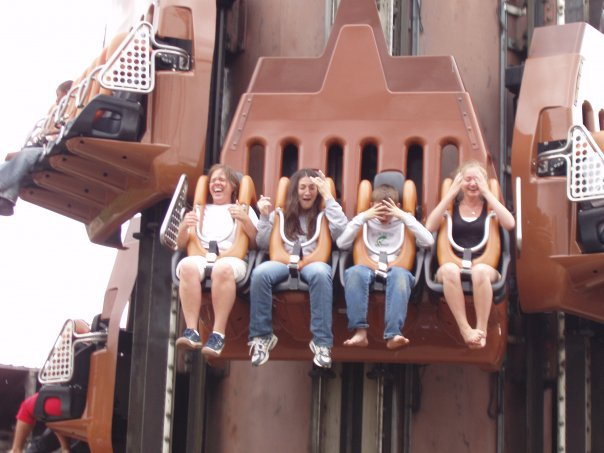 Enjoying the Giant Drop Ride at Six Flags