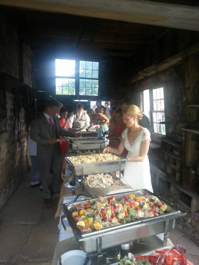 Elegant buffet in a rustic setting ~ so many creative and personal styles of wedding service ~ all making this so much fun!
