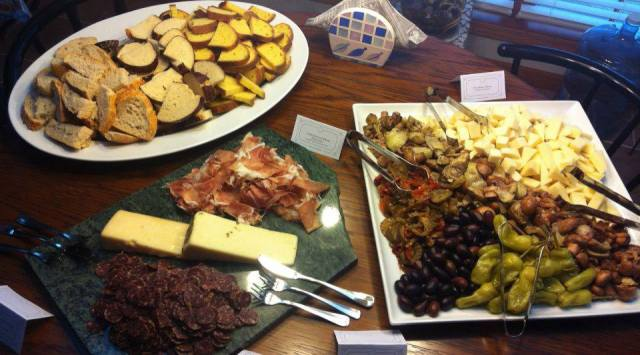 Delicious meat and cheese display for a housewarming party!