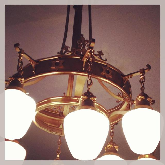 These light fixtures found in the main dining area were part of the original Jewish Synagogue in Appleton. Two of these pieces of history hang in the dining area.