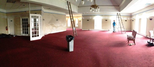 This photo shows the red carpet and white and white ceilings. We decided this was not the look we wanted.