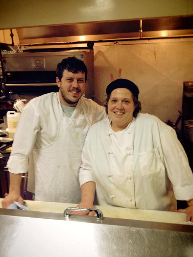 Chef Adam and I on the line for dinner one night. Judging by the bags under both of our eyes, we were whipped, but still smiling - kind of ~